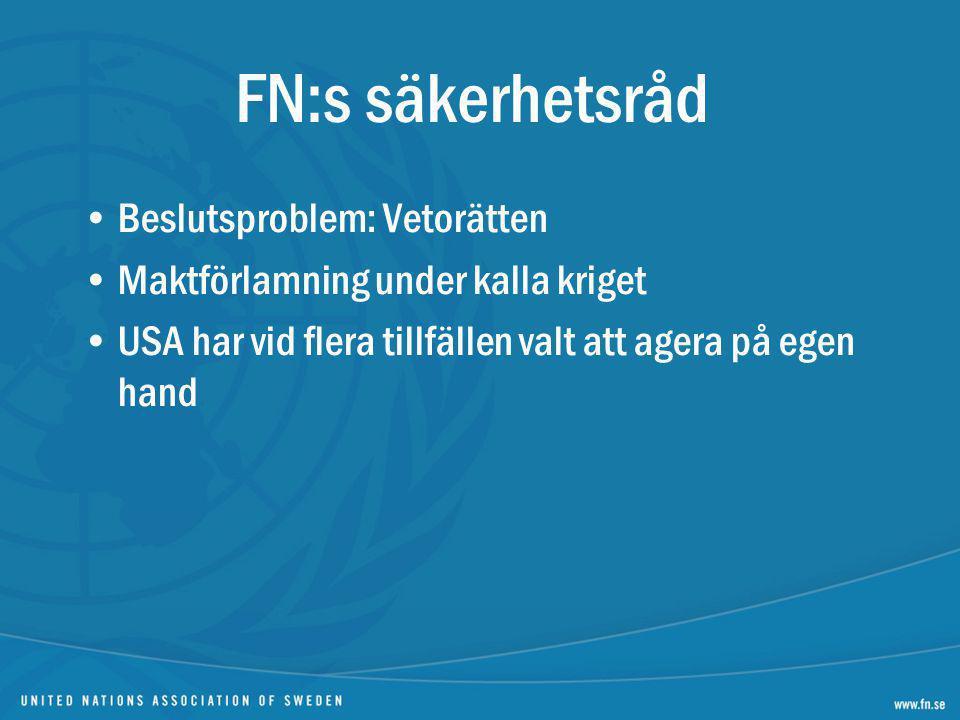 FN:s säkerhetsråd Beslutsproblem: Vetorätten