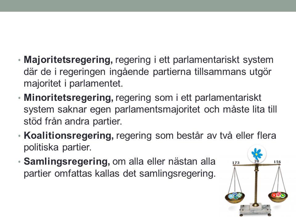 Majoritetsregering, regering i ett parlamentariskt system där de i regeringen ingående partierna tillsammans utgör majoritet i parlamentet.
