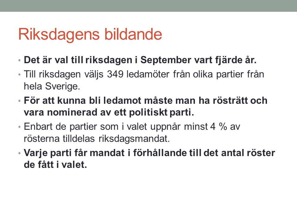 Riksdagens bildande Det är val till riksdagen i September vart fjärde år. Till riksdagen väljs 349 ledamöter från olika partier från hela Sverige.