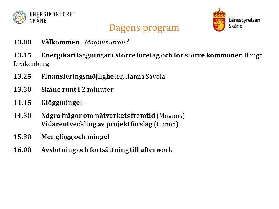 Dagens program 13.00 Välkommen– Magnus Strand