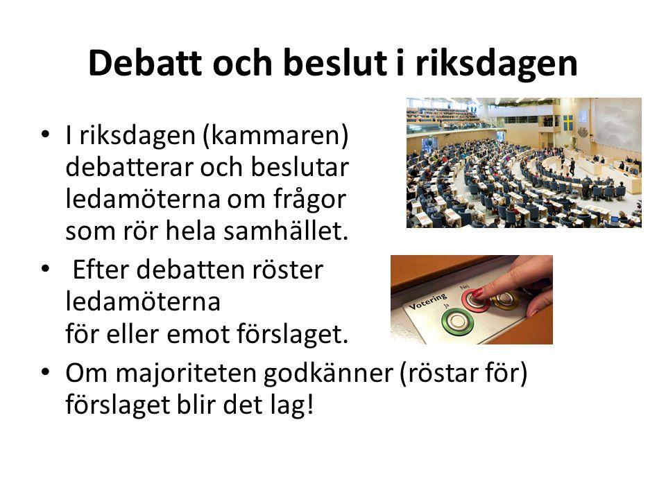 Debatt och beslut i riksdagen