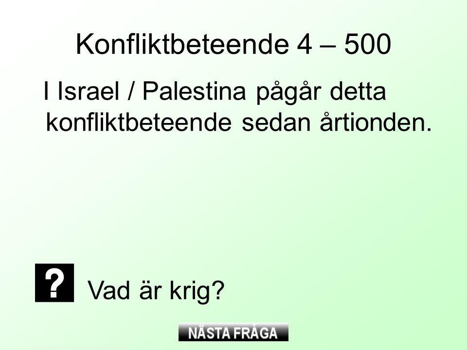 Konfliktbeteende 4 – 500 I Israel / Palestina pågår detta konfliktbeteende sedan årtionden.