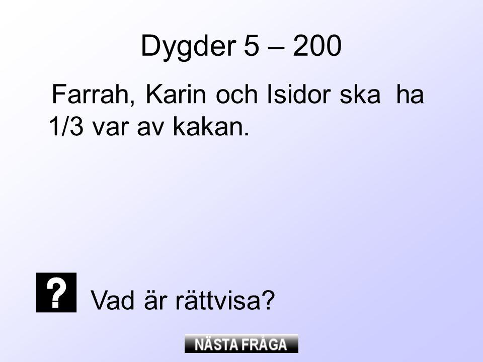 Dygder 5 – 200 Farrah, Karin och Isidor ska ha 1/3 var av kakan.