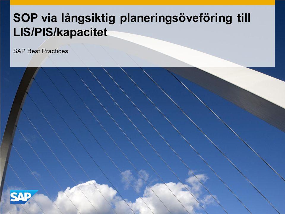 SOP via långsiktig planeringsöveföring till LIS/PIS/kapacitet