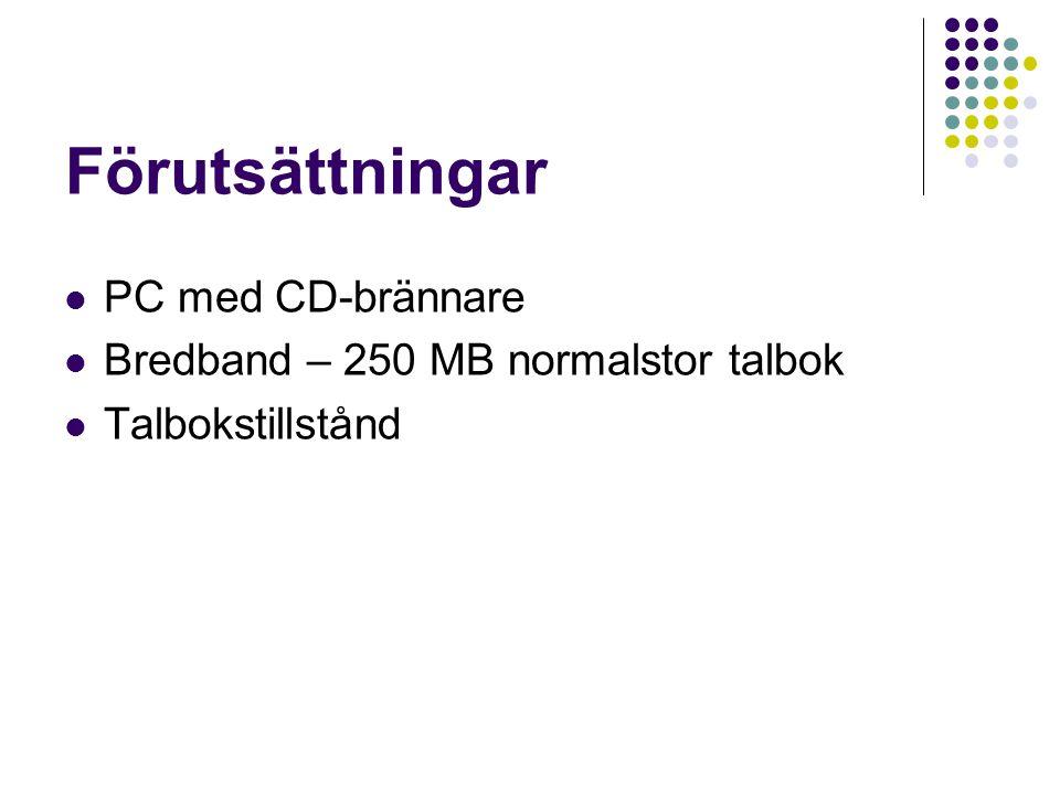 Förutsättningar PC med CD-brännare Bredband – 250 MB normalstor talbok