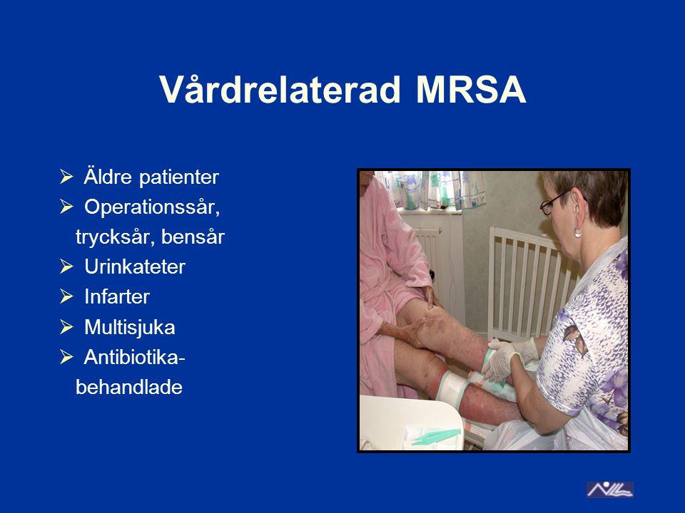 Vårdrelaterad MRSA Äldre patienter Operationssår, trycksår, bensår