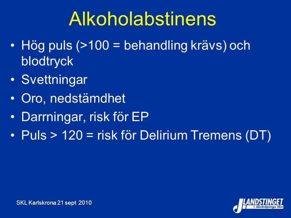 Alkoholabstinens Hög puls (>100 = behandling krävs) och blodtryck