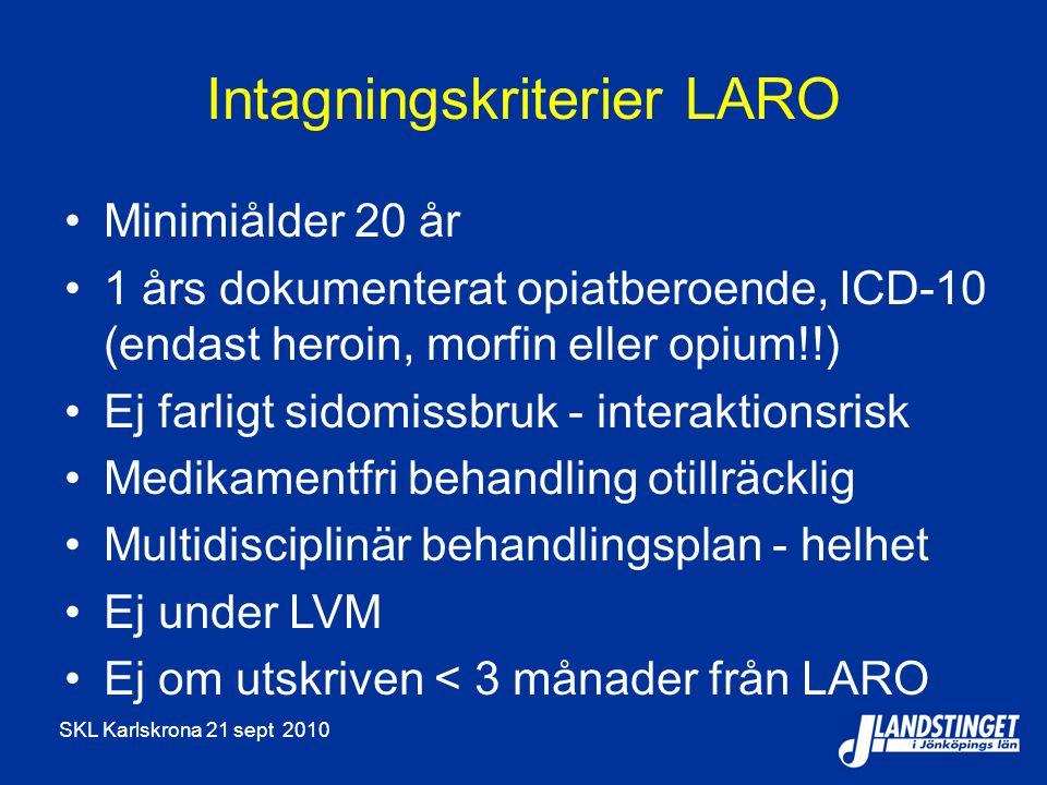 Intagningskriterier LARO