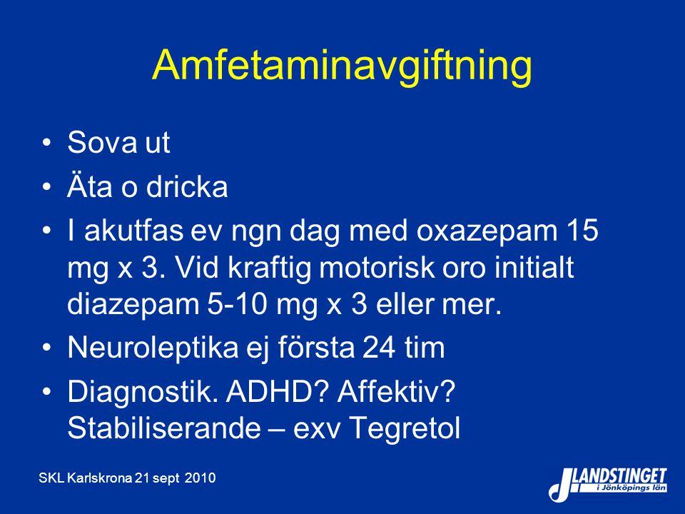 Amfetaminavgiftning Sova ut Äta o dricka