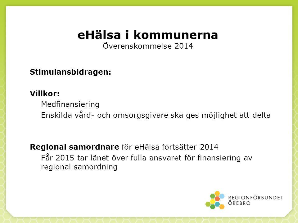 eHälsa i kommunerna Överenskommelse 2014