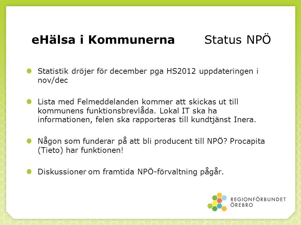 eHälsa i Kommunerna Status NPÖ