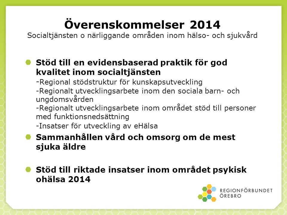 Överenskommelser 2014 Socialtjänsten o närliggande områden inom hälso- och sjukvård
