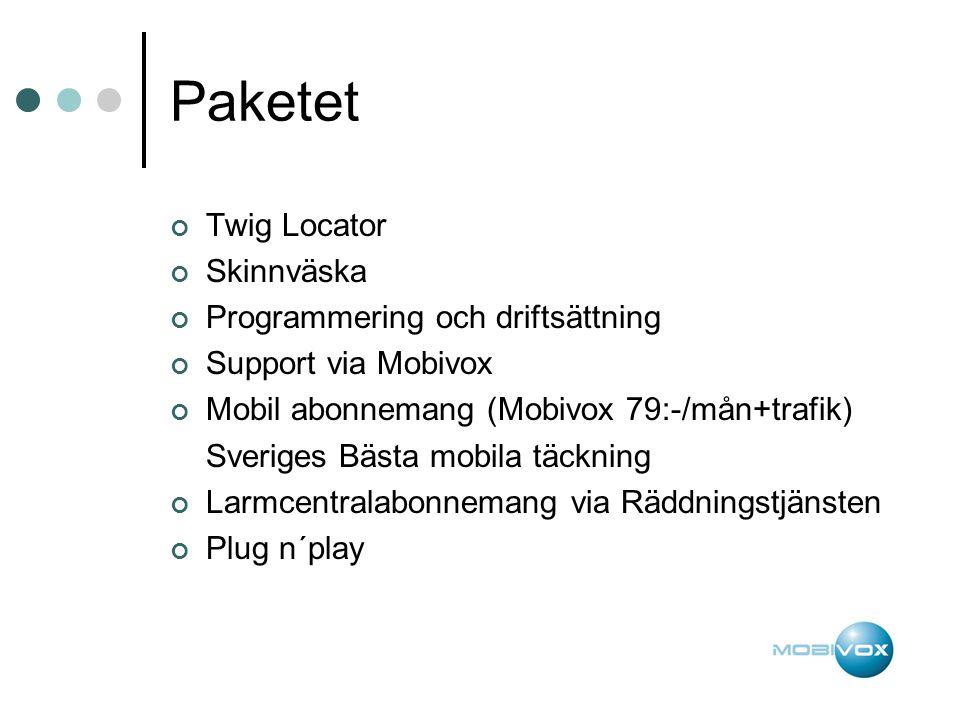 Paketet Twig Locator Skinnväska Programmering och driftsättning