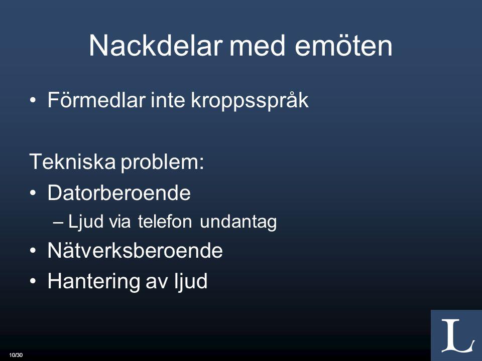 Nackdelar med emöten Förmedlar inte kroppsspråk Tekniska problem: