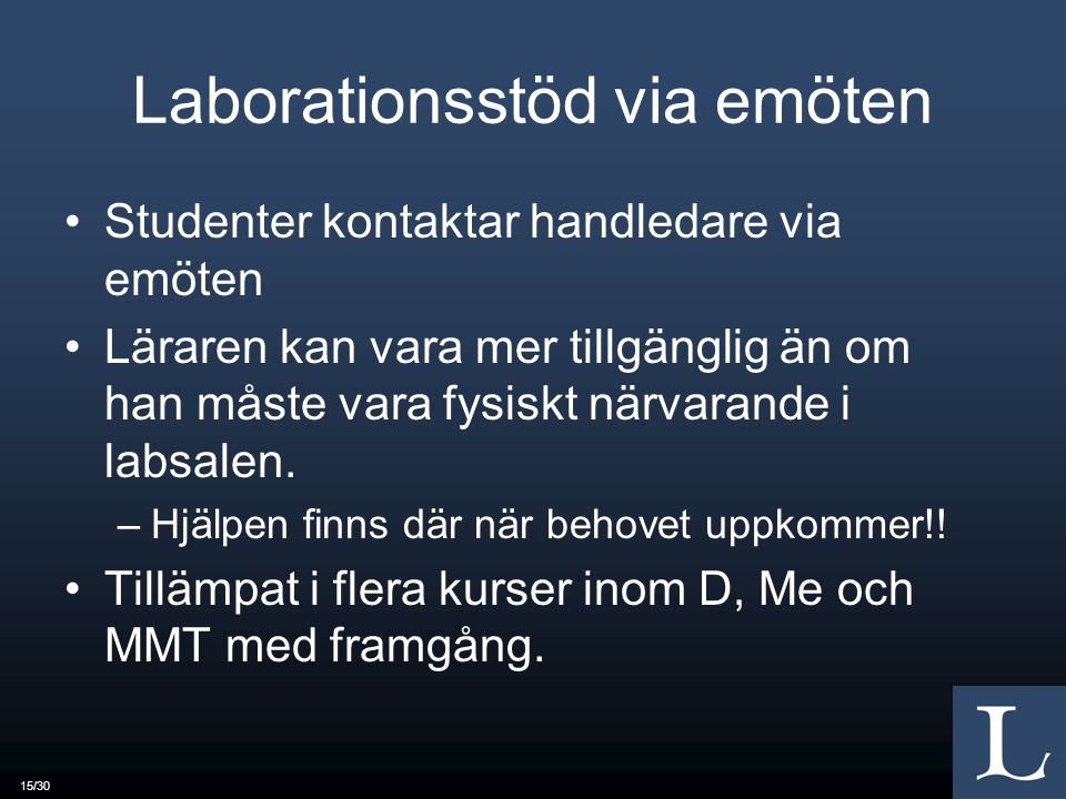 Laborationsstöd via emöten