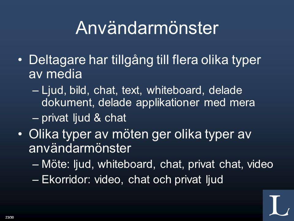 Användarmönster Deltagare har tillgång till flera olika typer av media