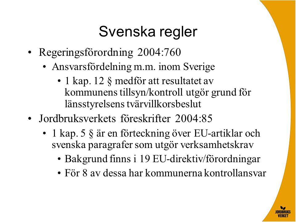 Svenska regler Regeringsförordning 2004:760