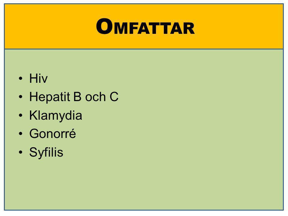 OMFATTAR Hiv Hepatit B och C Klamydia Gonorré Syfilis