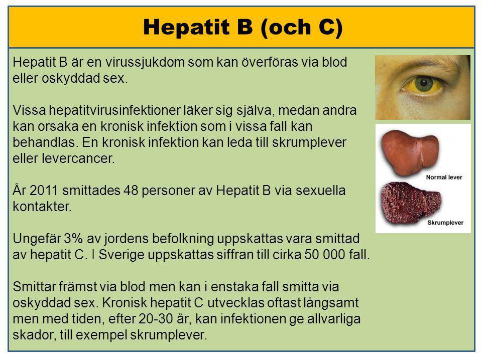 Hepatit B (och C) Hepatit B är en virussjukdom som kan överföras via blod eller oskyddad sex.