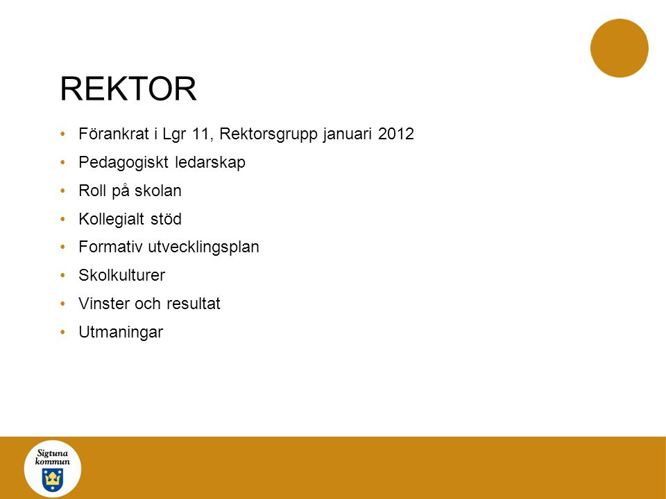 REKTOR Förankrat i Lgr 11, Rektorsgrupp januari 2012