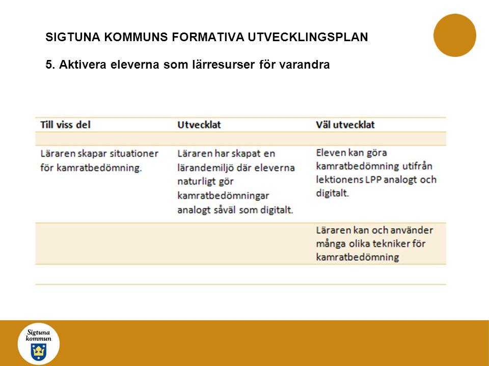 SIGTUNA KOMMUNS FORMATIVA UTVECKLINGSPLAN 5