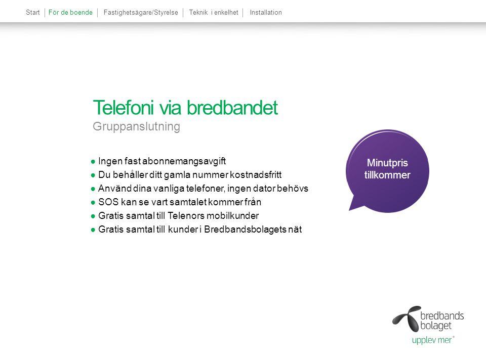 Telefoni via bredbandet Gruppanslutning