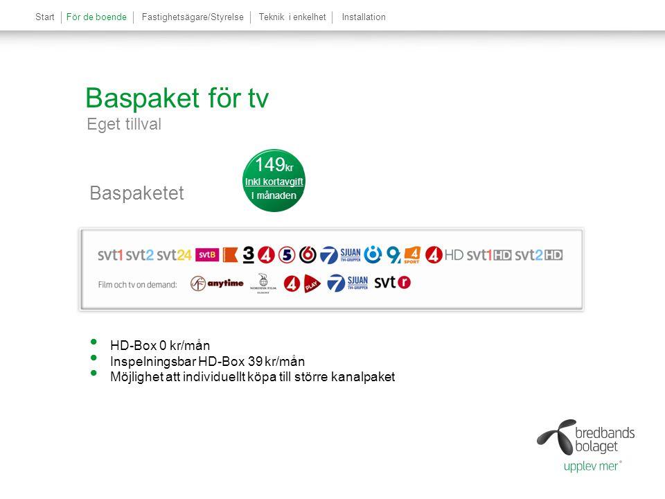 Baspaket för tv Eget tillval