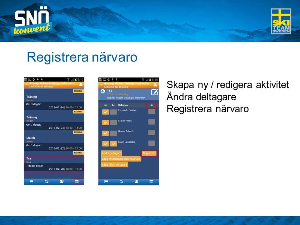Registrera närvaro Skapa ny / redigera aktivitet Ändra deltagare