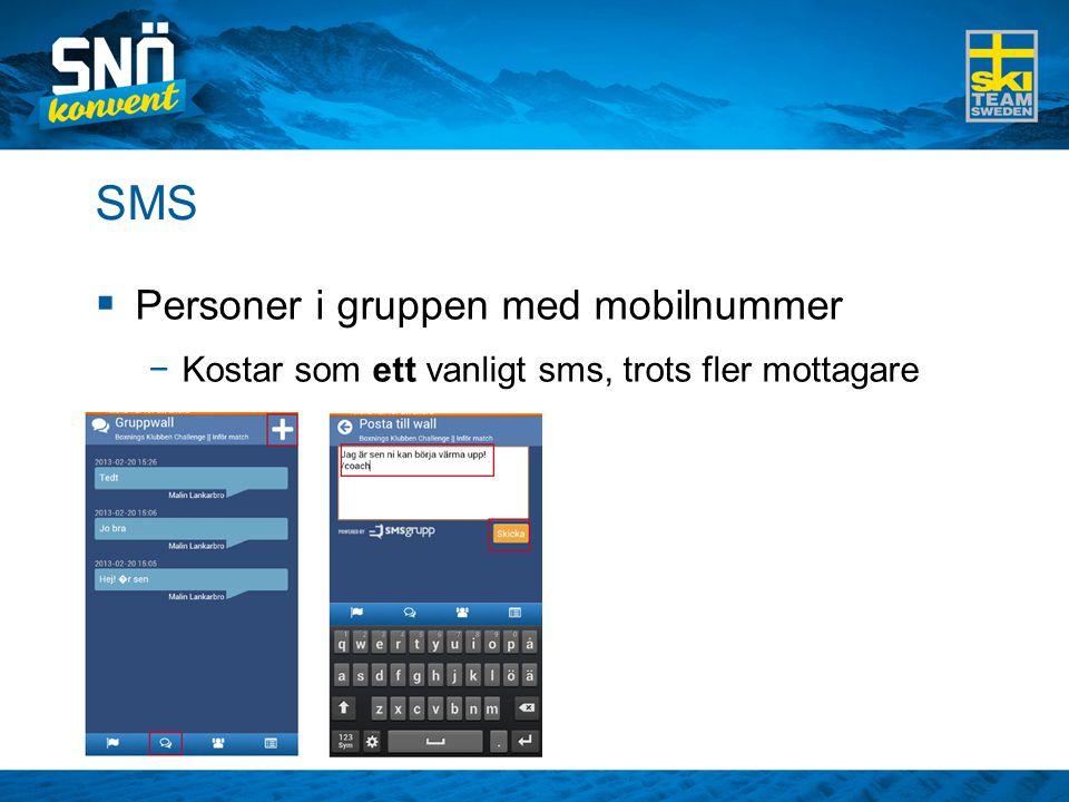 SMS Personer i gruppen med mobilnummer