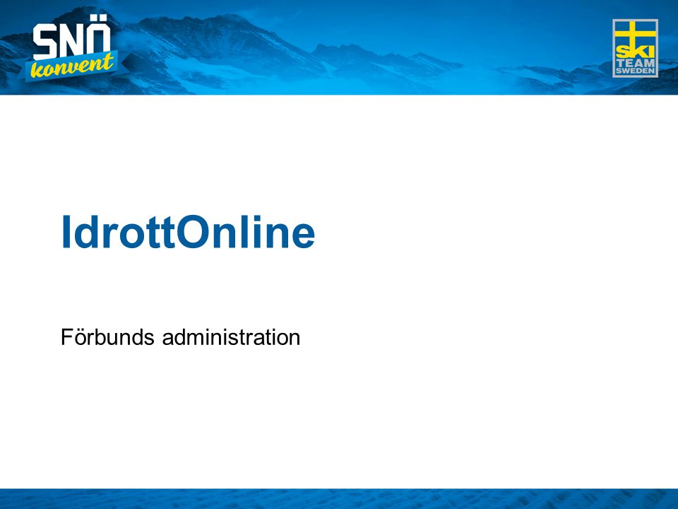 IdrottOnline Förbunds administration