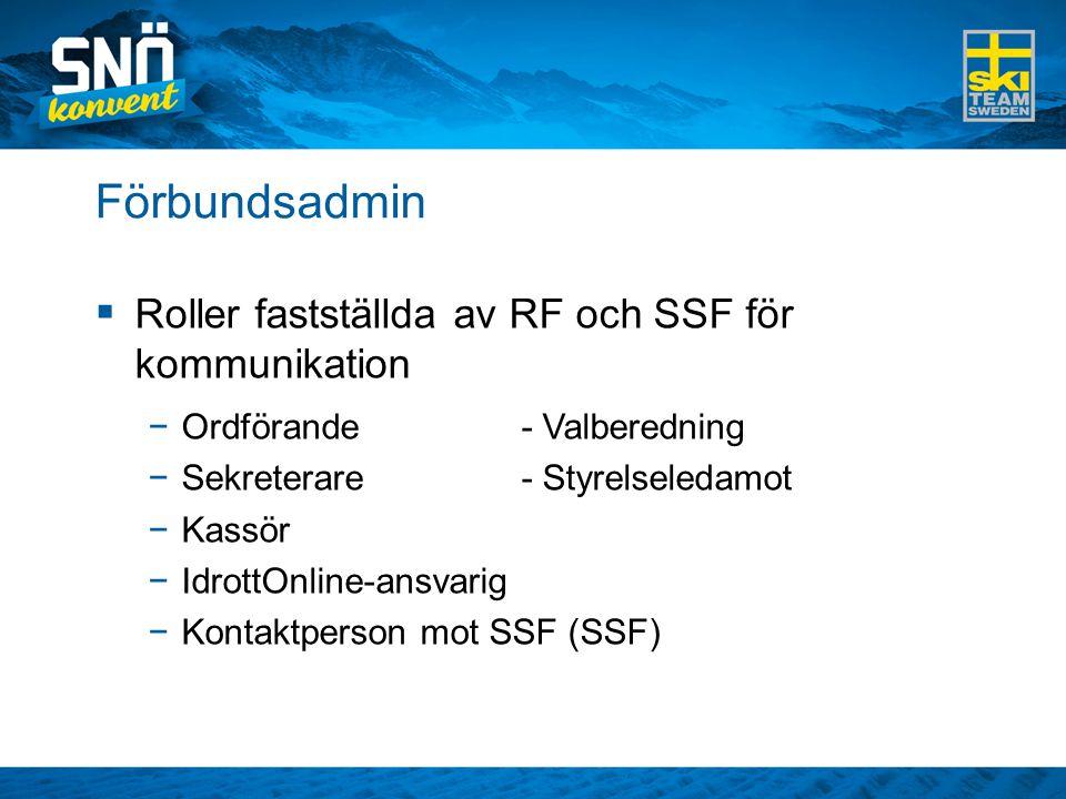 Förbundsadmin Roller fastställda av RF och SSF för kommunikation