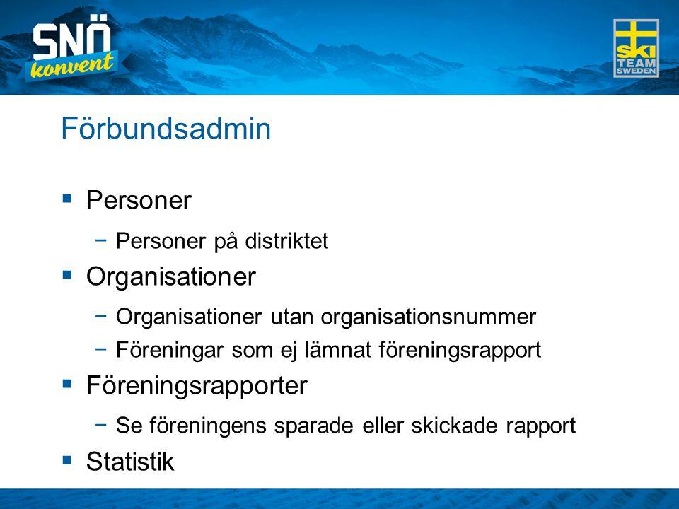 Förbundsadmin Personer Organisationer Föreningsrapporter Statistik