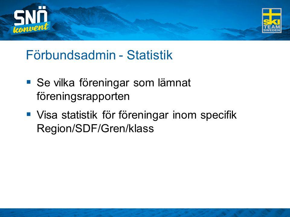 Förbundsadmin - Statistik