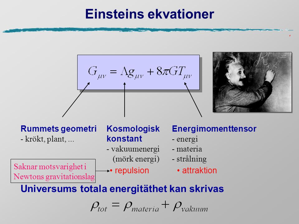 Einsteins ekvationer Universums totala energitäthet kan skrivas