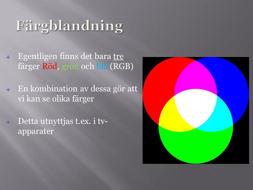 Färgblandning Egentligen finns det bara tre färger Röd, grön och blå (RGB) En kombination av dessa gör att vi kan se olika färger.