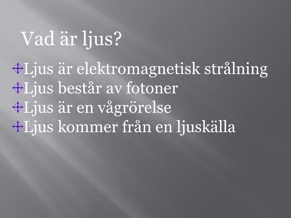Vad är ljus Ljus är elektromagnetisk strålning Ljus består av fotoner