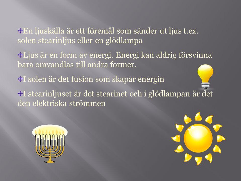 En ljuskälla är ett föremål som sänder ut ljus t. ex