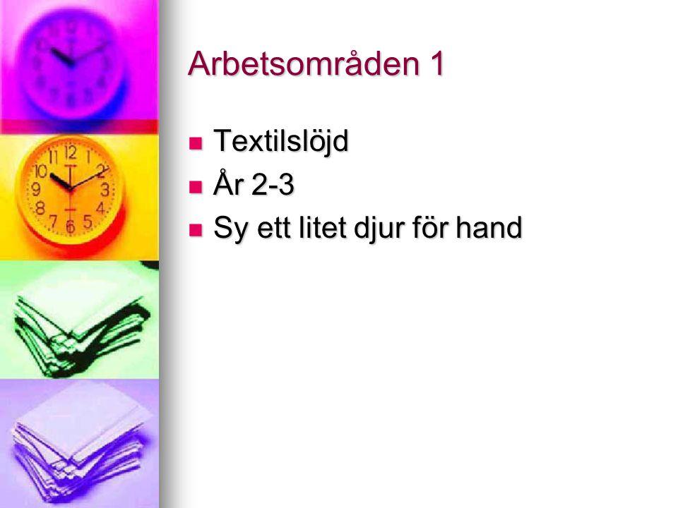 Arbetsområden 1 Textilslöjd År 2-3 Sy ett litet djur för hand