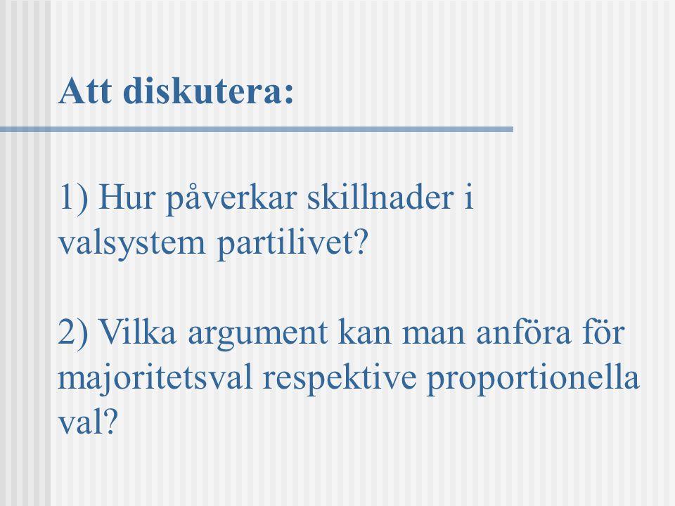 Att diskutera: 1) Hur påverkar skillnader i valsystem partilivet