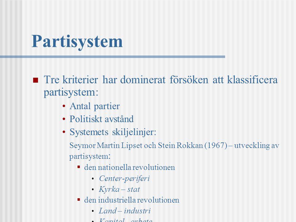 Partisystem Tre kriterier har dominerat försöken att klassificera partisystem: Antal partier. Politiskt avstånd.