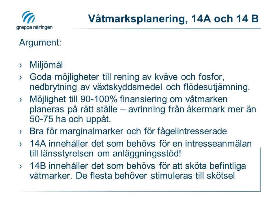 Våtmarksplanering, 14A och 14 B