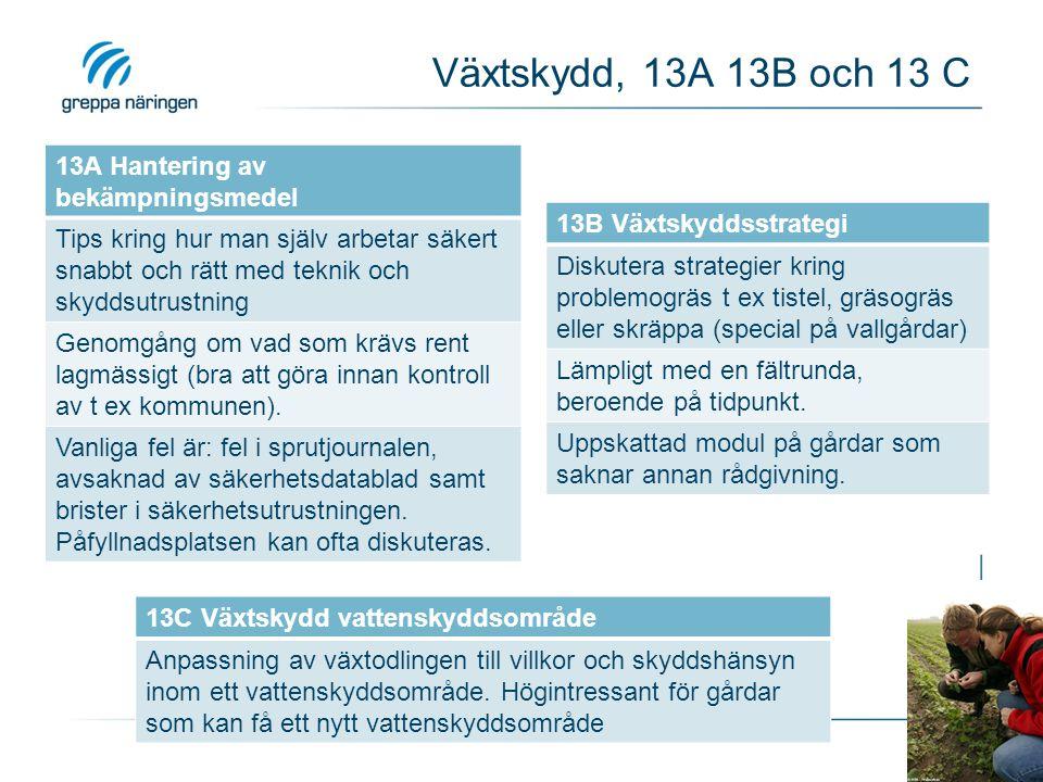 Växtskydd, 13A 13B och 13 C 13A Hantering av bekämpningsmedel