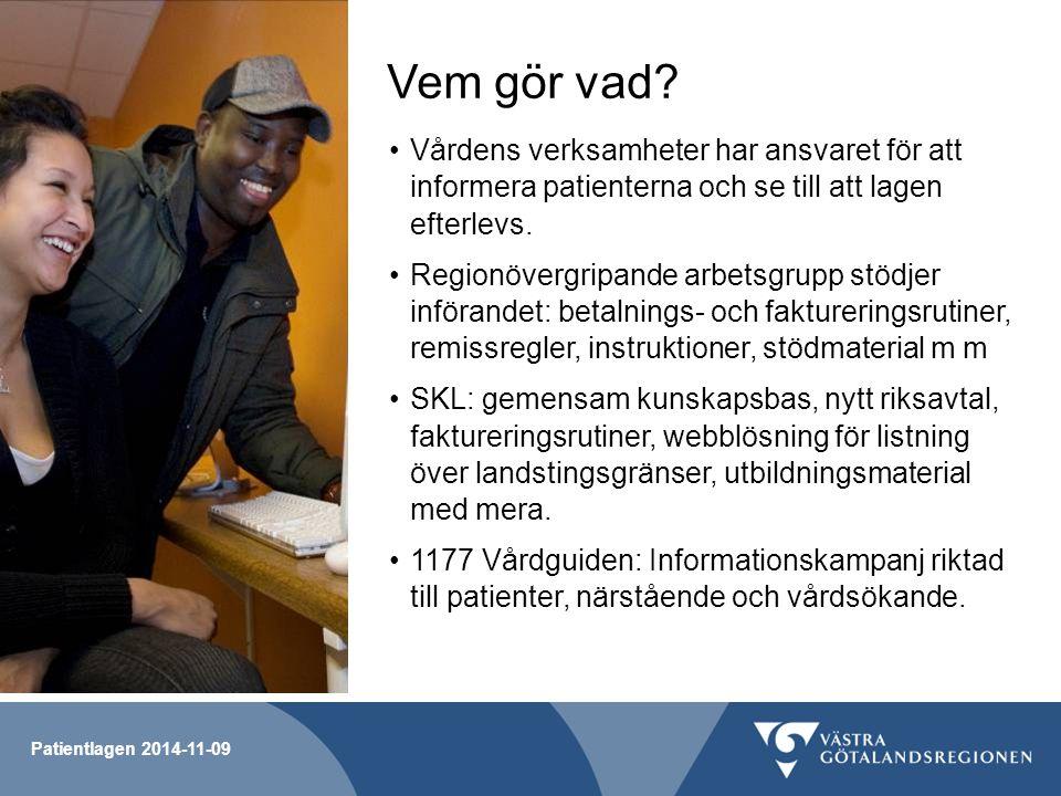 Vem gör vad Vårdens verksamheter har ansvaret för att informera patienterna och se till att lagen efterlevs.