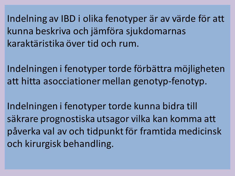 Indelning av IBD i olika fenotyper är av värde för att kunna beskriva och jämföra sjukdomarnas karaktäristika över tid och rum.