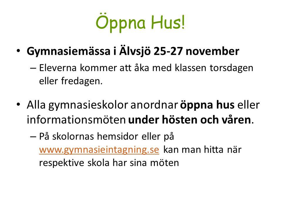 Öppna Hus! Gymnasiemässa i Älvsjö 25-27 november
