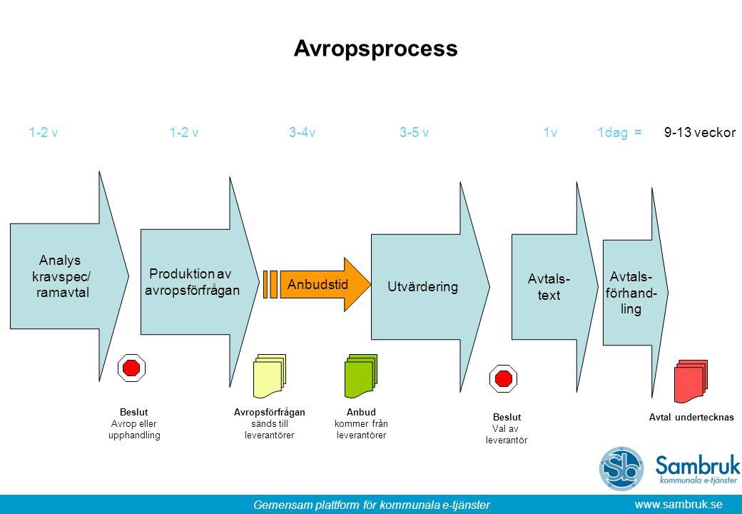 Avropsprocess 1-2 v 1-2 v 3-4v 3-5 v 1v 1dag = 9-13 veckor Analys