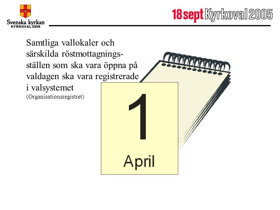1 april Samtliga vallokaler och särskilda röstmottagnings-ställen som ska vara öppna på valdagen ska vara registrerade i valsystemet.