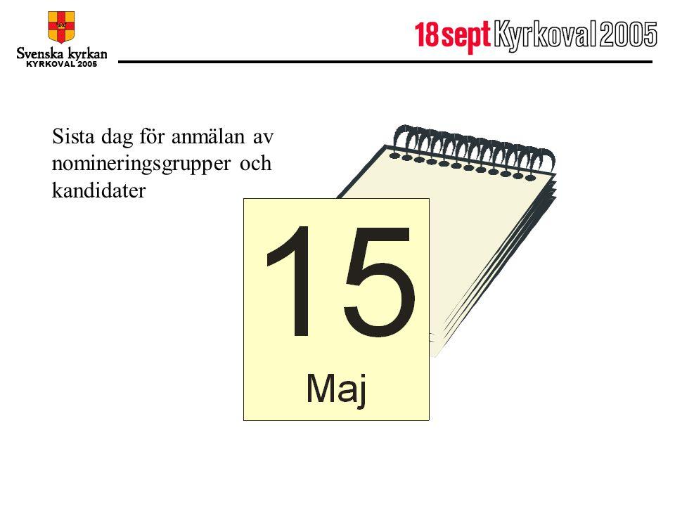15 maj Sista dag för anmälan av nomineringsgrupper och kandidater
