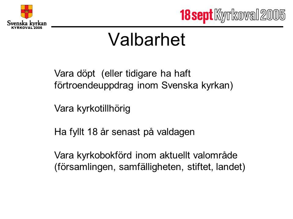 Valbarhet Vara döpt (eller tidigare ha haft förtroendeuppdrag inom Svenska kyrkan) Vara kyrkotillhörig.