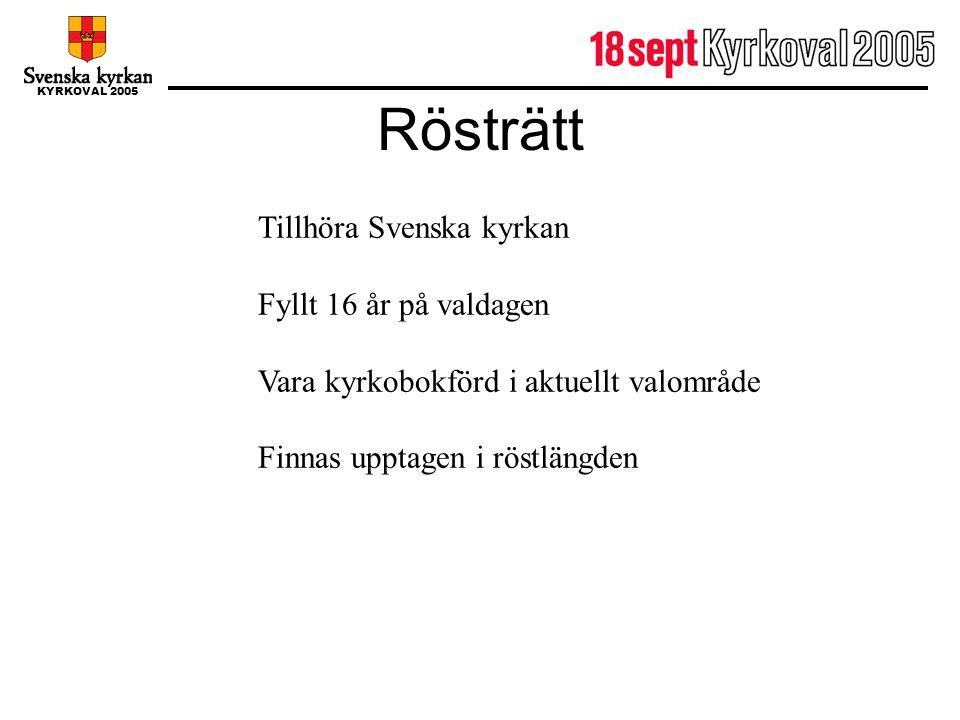 Rösträtt Tillhöra Svenska kyrkan Fyllt 16 år på valdagen